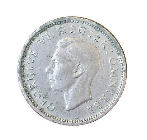 Moeda Antiga da Inglaterra Six Pence 1950