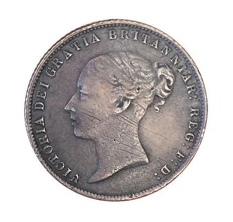 Moeda Antiga da Inglaterra Six Pence 1859