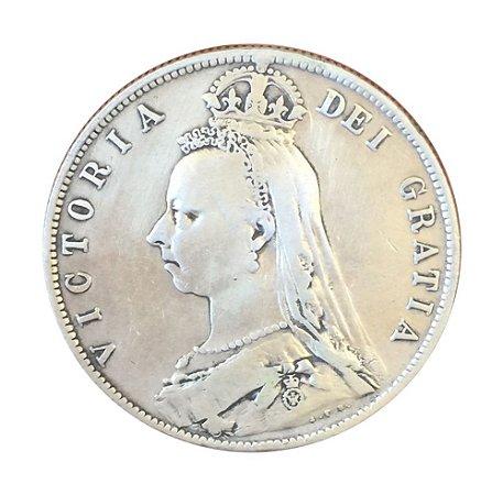 Moeda Antiga da Inglaterra Half Crown 1890