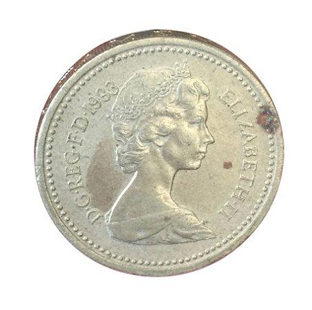 Moeda Antiga da Inglaterra One Pound 1983