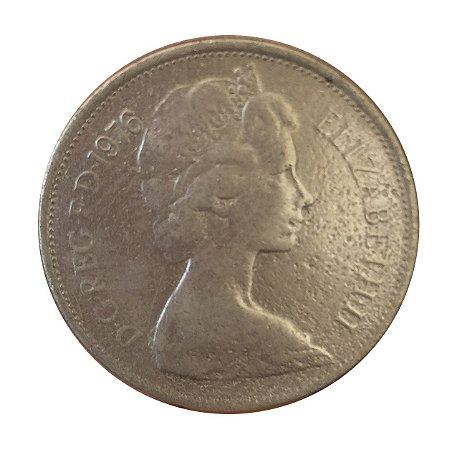Moeda Antiga da Inglaterra 10 New Pence 1976