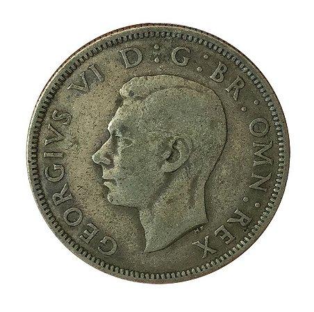 Moeda Antiga da Inglaterra Two Shillings 1938