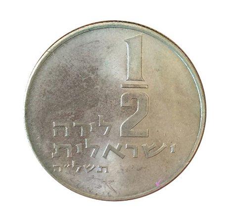 Moeda Antiga de Israel 1/2 Lira 1975 J
