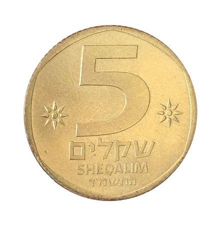 Moeda Antiga de Israel 5 Sheqalim 1984