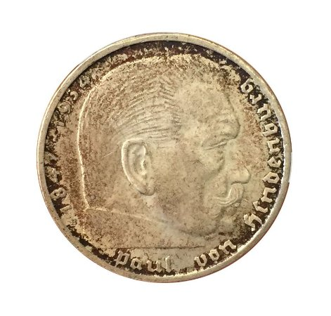 Moeda Antiga da Alemanha 2 Reichsmark 1938 B