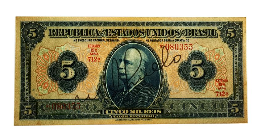 Cédula Antiga do Brasil 5000 Réis 1942 - com chancela
