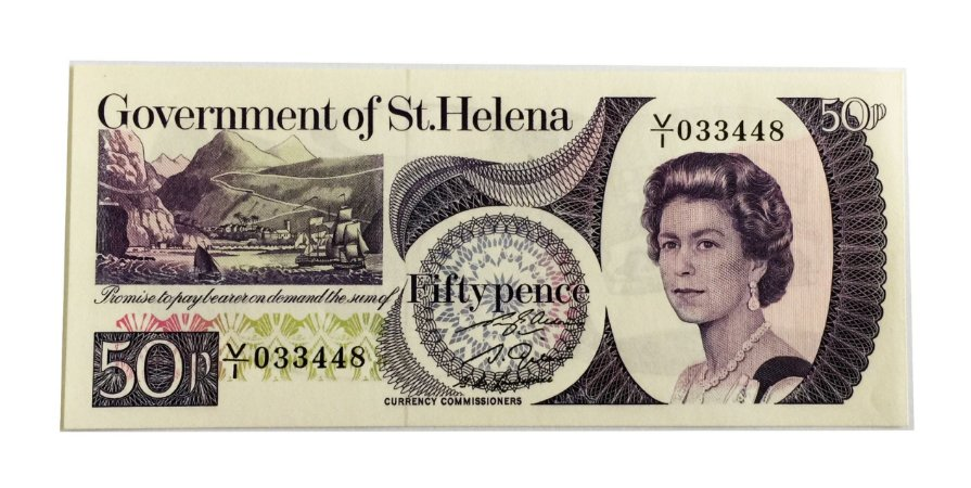 Cédula Antiga de St. Helena 50 Pence 1979