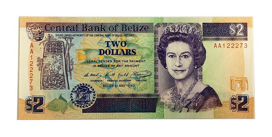 Cédula Antiga de Belize $2 1990