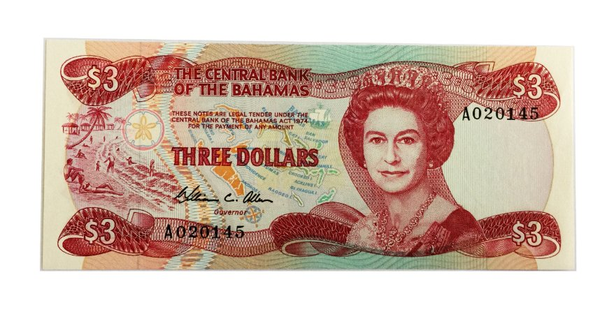Cédula Antiga de Bahamas $3 1974
