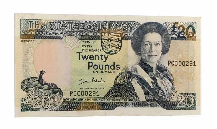 Cédula Antiga de Jersey 20 Pounds 2000