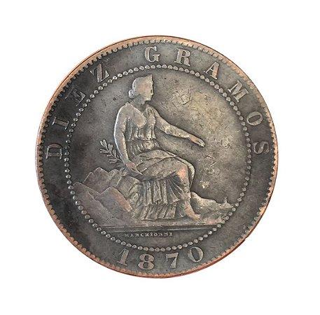 Moeda Antiga da Espanha 10 Centimos 1870