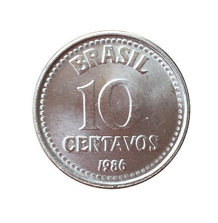 Moeda Antiga do Brasil 10 Centavos de Cruzado 1986