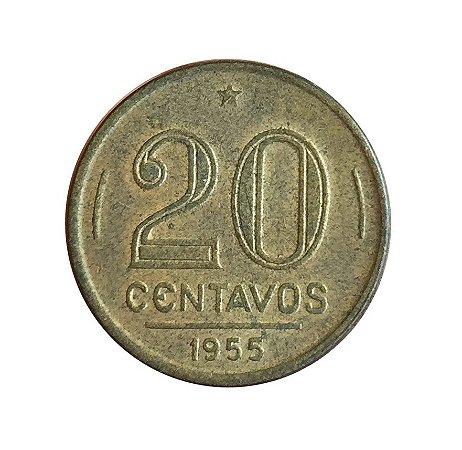 Moeda Antiga do Brasil 20 Centavos de Cruzeiro 1955 - Ruy Barbosa - Reverso Horizontal