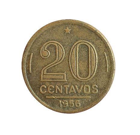 Moeda Antiga do Brasil 20 Centavos de Cruzeiro 1956 - Ruy Barbosa