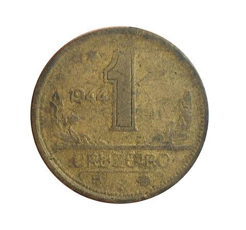 Moeda Antiga do Brasil 1 Cruzeiro 1944 - Reverso Inclinado