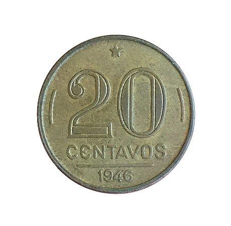 Moeda Antiga do Brasil 20 Centavos de Cruzeiro 1946 - Getúlio Vargas