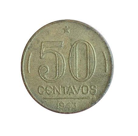 Moeda Antiga do Brasil 50 Centavos de Cruzeiro 1943 - Getúlio Vargas