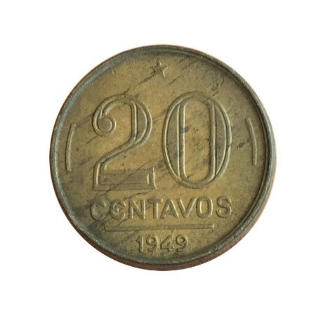 Moeda Antiga do Brasil 20 Centavos de Cruzeiro 1949 - Ruy Barbosa