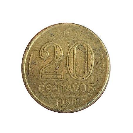 Moeda Antiga do Brasil 20 Centavos de Cruzeiro 1950 - Ruy Barbosa