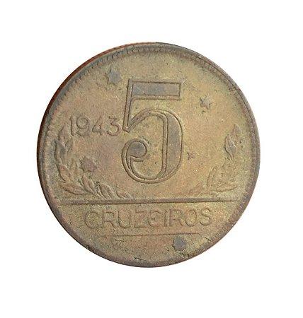 Moeda Antiga do Brasil 5 Cruzeiros 1943