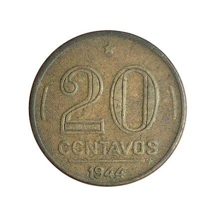 Moeda Antiga do Brasil 20 Centavos de Cruzeiro 1944 - Getúlio Vargas