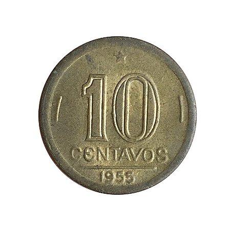 Moeda Antiga do Brasil 10 Centavos de Cruzeiro 1955 - José Bonifácio