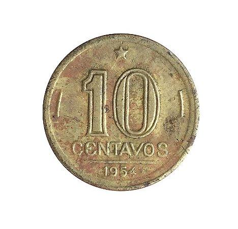 Moeda Antiga do Brasil 10 Centavos de Cruzeiro 1954 - José Bonifácio