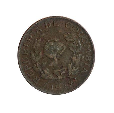 Moeda Antiga da Colômbia V Centavos 1942 B