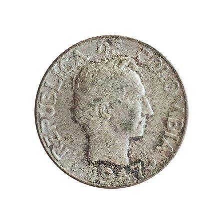 Moeda Antiga da Colômbia 10 Centavos 1947/5 B - Data Emendada