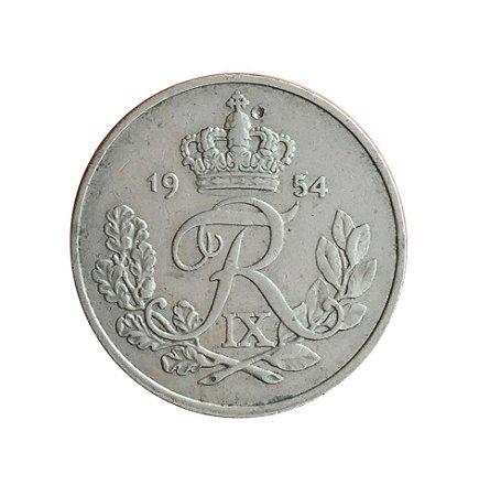 Moeda Antiga da Dinamarca 25 Ore 1954
