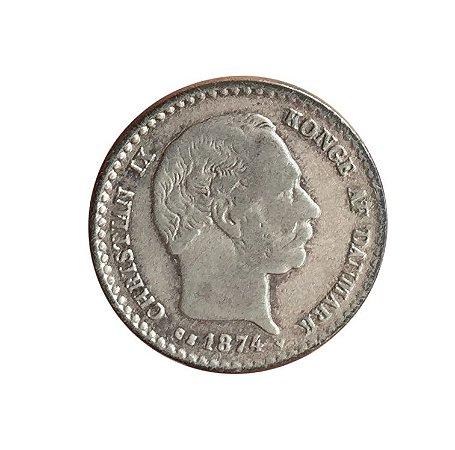 Moeda Antiga da Dinamarca 10 Ore 1874