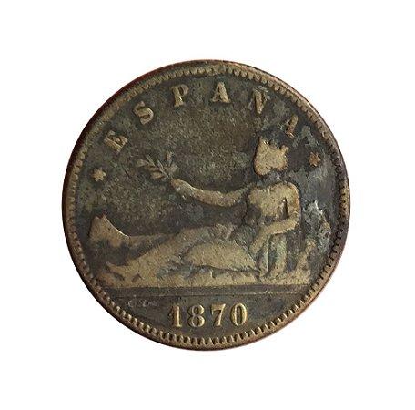 Moeda Antiga da Espanha 1 Peseta 1870 DE-M