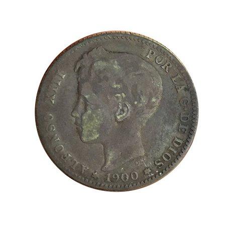 Moeda Antiga da Espanha 1 Peseta 1900 SN-V