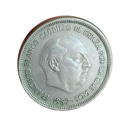 Moeda Antiga da Espanha 25 Pesetas 1957 (70)