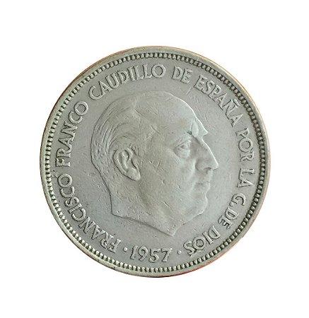 Moeda Antiga da Espanha 25 Pesetas 1957 (?)