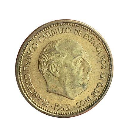 Moeda Antiga da Espanha 2-1/2 Pesetas 1953 (54)