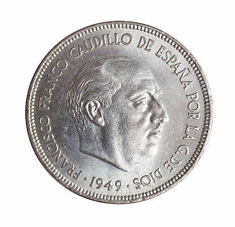 Moeda Antiga da Espanha 5 Pesetas 1949 (50)
