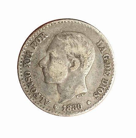 Moeda Antiga da Espanha 50 Centimos 1880