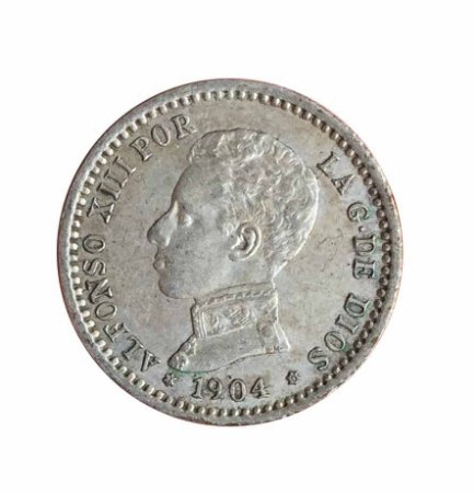Moeda Antiga da Espanha 50 Centimos 1904 - PCV