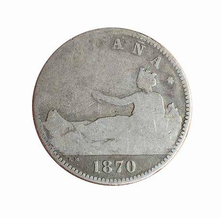 Moeda Antiga da Espanha 1 Peseta 1870
