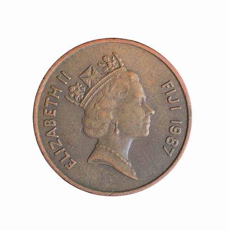 Moeda Antiga de Fiji 2 Cents 1987