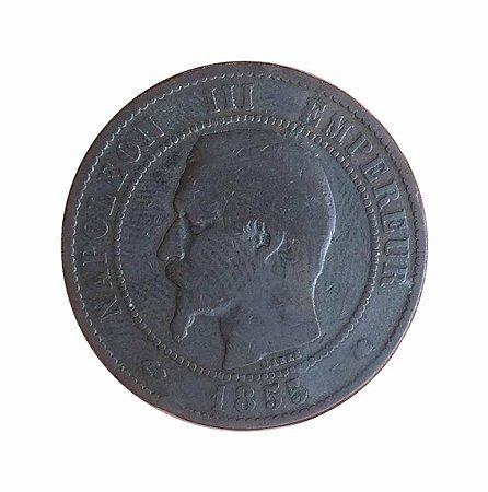 Moeda Antiga da França 10 Centimes 1855 K