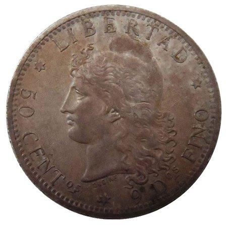Moeda Antiga da Argentina 50 centavos 1883