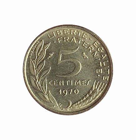 Moeda Antiga da França 5 Centimes 1970