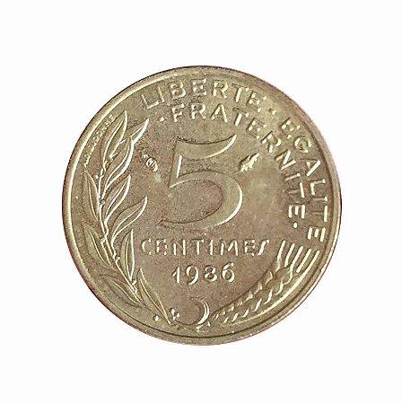 Moeda Antiga da França 5 Centimes 1986