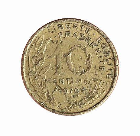 Moeda Antiga da França 10 Centimes 1970
