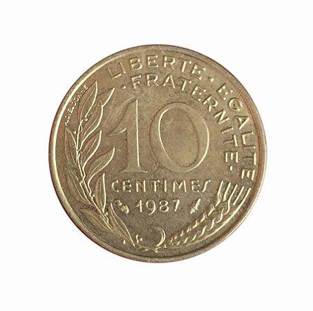 Moeda Antiga da França 10 Centimes 1987