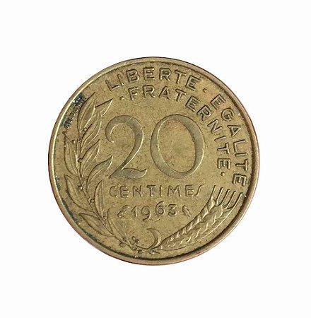 Moeda Antiga da França 20 Centimes 1963