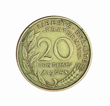 Moeda Antiga da França 20 Centimes 1964