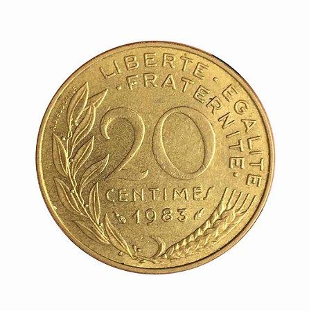 Moeda Antiga da França 20 Centimes 1983